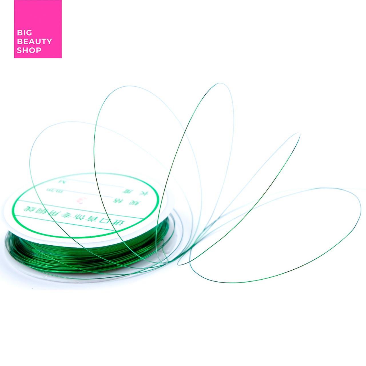 Нить для декора ногтей зеленая 3 мм