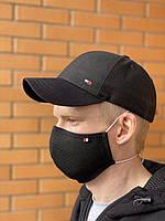 Комплект кепка + маска питта черного цвета