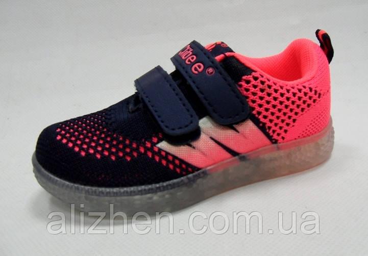 Кроссовки для девочки с мигалками тм Clibee, размер  23, 24