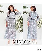 Красивое длинное шифоновое платье, размер от 46 до 48