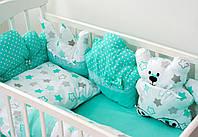 Детский постельный набор красивый комплект в кроватку Мишки и звезды
