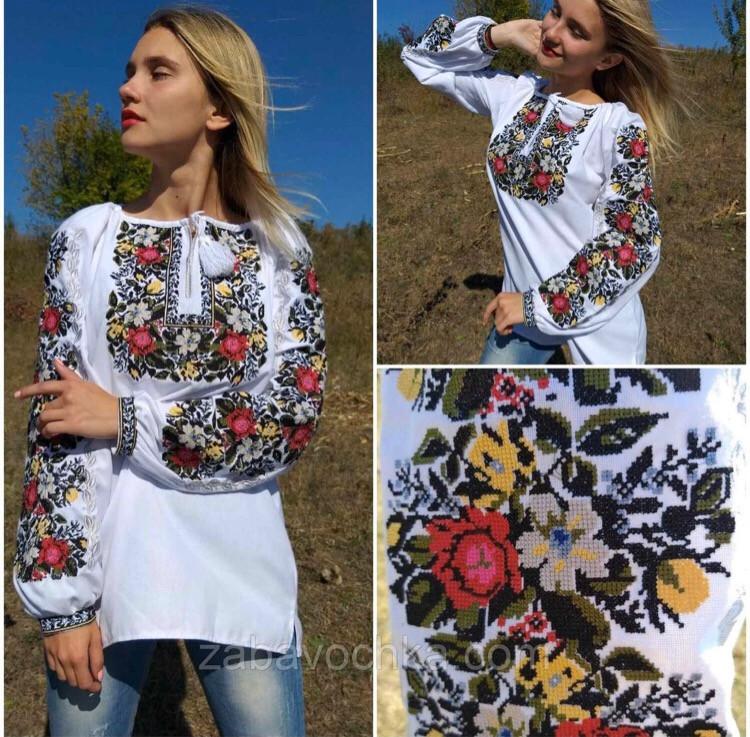 Блузка з вишивкою жіноча, з довгим рукавом, вишиванка, хлопкова, 42-54 р-ры, 1350/1250 (цена за 1 шт. +100гр)