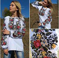 Блузка з вишивкою жіноча, з довгим рукавом, вишиванка, хлопкова, 42-54 р-ры, 1350/1250 (цена за 1 шт. +100гр), фото 1