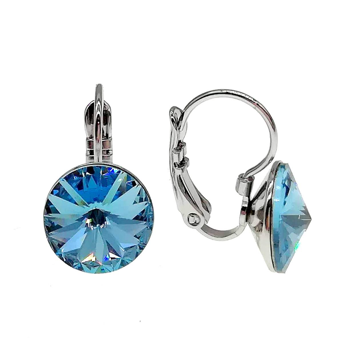 Серьги Xuping из медицинского золота, кристаллы Swarovski небесно-голубого цвета, родий, 24480             (1)
