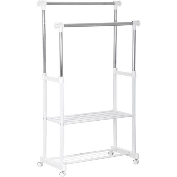 Вешалка стойка для одежды двойная белая PROзапас 127-157 х 83-136 х 40 см.