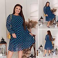 Шифоновое легкое платье на трикотажной подкладке размеры батал 50-56 арт 2801