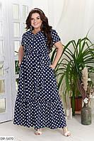 Летнее длинное свободное платье с поясом размеры батал 50-56 арт 380