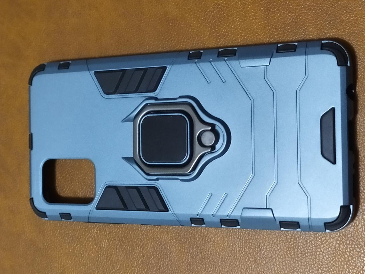 Чехол накладка Protected Case с кольцом  для Samsung A51 (серый)
