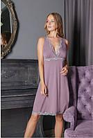 Сорочка нічна жіноча, CHARLOTTE бузковий, 2XL, 3XL, TM KOMILFO