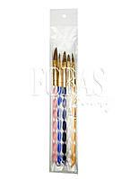 Набор  кистей для дизайна ногтей и геля цветные, 5 шт.
