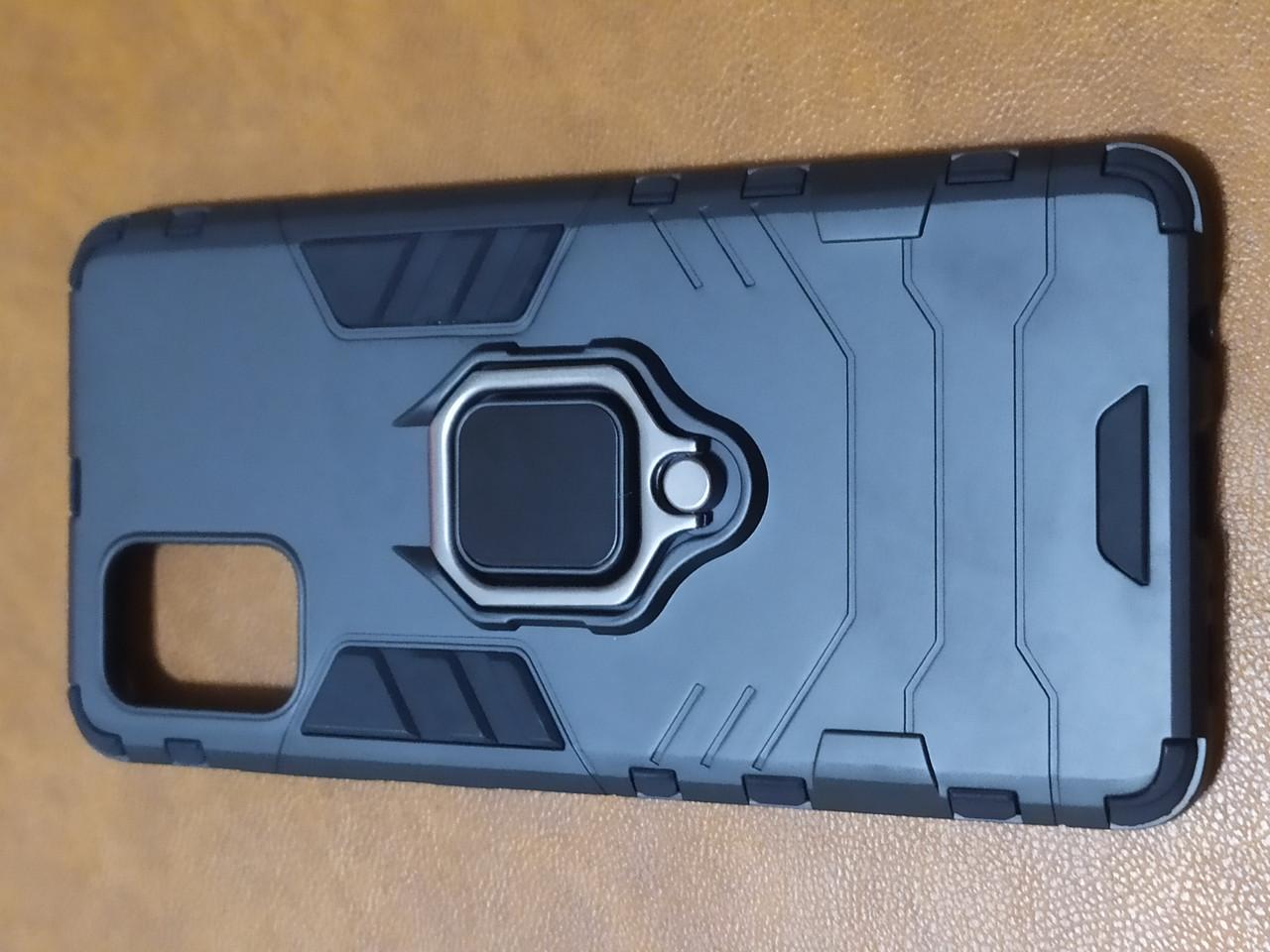 Чехол накладка Protected Case с кольцом  для Samsung A71 (черный)