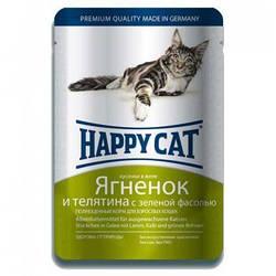 Корм Happy Cat желе ягня і телятина із зеленою квасолею для котів 100 г