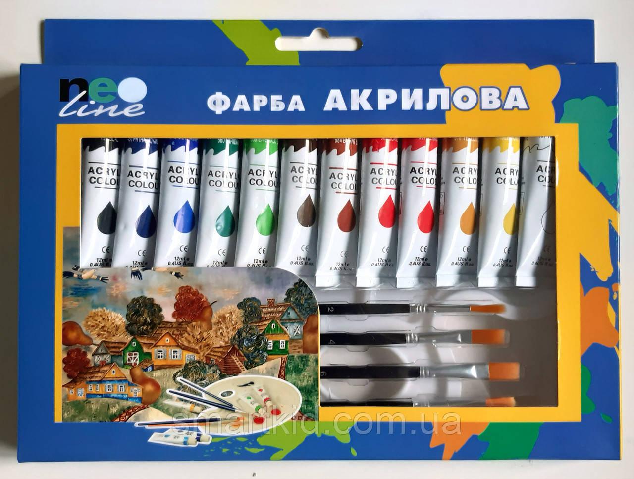 Фарба акрилова 12 кольорів Neo line + 4 пензлики і палітра