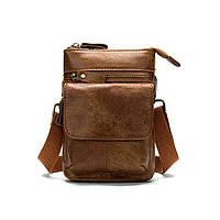 Шкіряна чоловіча міні-сумочка на плече Marrant світло-коричнева