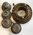 Ретро розподільна коробка порцеляновий Artlight, Marsh grass, фурнітура бронза, нікель, фото 3