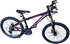 Спортивный горный велосипед черно-розовый 26 дюймов колёса Crolan L806