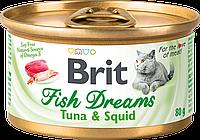 Влажный корм для кошек Brit Fish Dreams 80 г (тунец и кальмар)