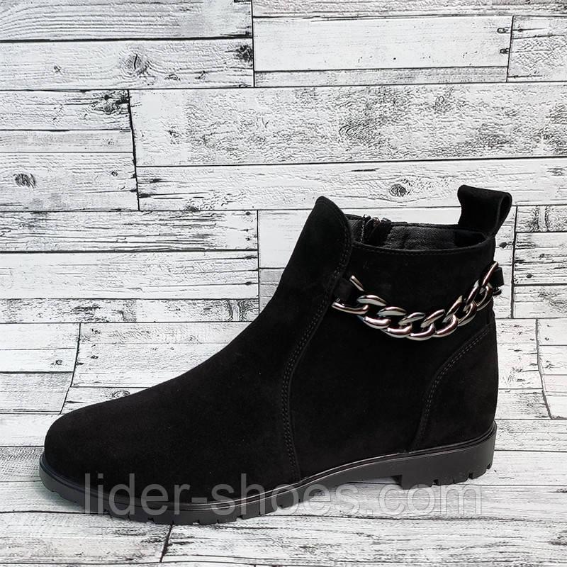 Ботинки женские на низком ходу замшевые