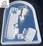 Набор для ванны с зеркалом Berossi (7 предметов) белый мрамор