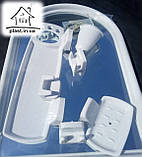 Набір для ванни з дзеркалом Berossi (7 предметів) білий мармур, фото 3