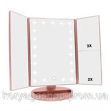Зеркало с подсветкой 22 Led SuperStar mirror с боковыми зеркалам Pink #D/S