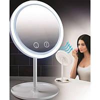 Настольное косметическое зеркало NuBrilliance Beauty Breeze Mirror с подсветкой и встроенным вентилятором, фото 1