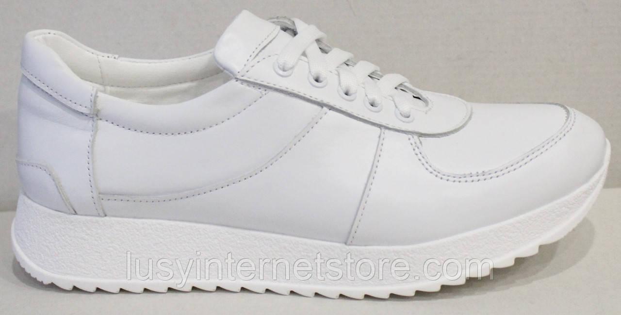 Кроссовки кожаные женские белые от производителя модель АНЖ302