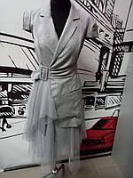 Платье-пиджак женское серое