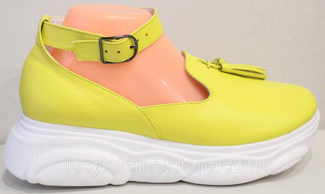 Лоферы женские туфли с ремешком на платформе от производителя модель ЛД109-1
