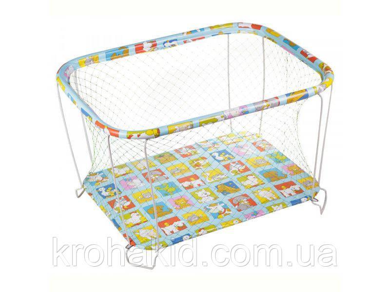"""Детский классический игровой манеж с крупной сеткой KinderBox """"Животные"""" - игровой центр для детей"""