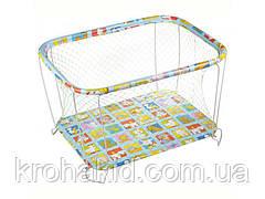 """Детский классический игровой манеж с крупной сеткойKinderBox """"Животные"""" - игровой центр для детей"""