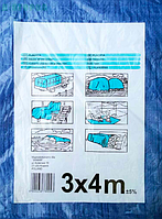 Тент полипропиленовый с кольцами, плотность 55 г/кв.м, размер 3x4 м