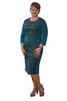 Платье вечернее бирюзовое , трикотажное нарядное с кружевом,пл 805