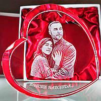 3D фото в хрустальном сердце - подарок жене, девушке, любимой на День рождения