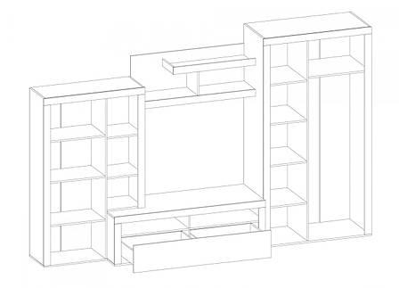 "Стенка Мебель Сервис ""Неон-2"" венге\белый глянец , фото 2"