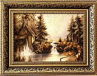 Картина пейзаж з янтаря Мельница, картина пейзаж з бурштину Мельниця 20x30 см