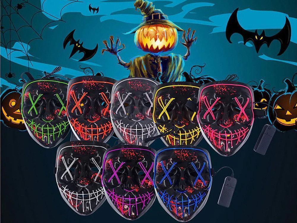 """Неоновая LED маска для вечеринок """"Судная ночь"""" оранжевая"""
