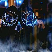 """Неоновая LED маска для вечеринок """"Судная ночь"""" красная"""