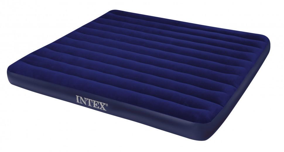 Надувной двуспальный матрас велюровый синий 68755SH INTEX 183х203 см