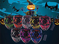 """Неоновая LED маска для вечеринок """"Судная ночь"""" фиолетовая, фото 1"""