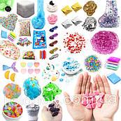 Набор всех добавок для слаймов SLIME BOX, шармики, посыпки, снег, бусины, пенопласт, блестки, поталь, пакетики