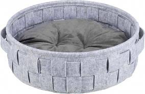 Лежак Trixie Lennie фетр плетений Сірий 45 см (38392)