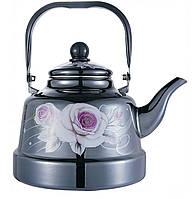 Чайник з рухомою ручкою Benson BN-106 чорний з малюнком (2.5 л)