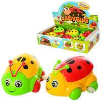 Заводна іграшка 9988-C сонечко,рухаються очі,крила, 6шт (3цвета) в дисплеї 28-18-6 см