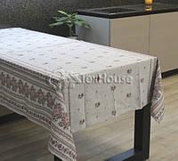 Скатерть рогожка набивная 120х150 см , дизайн «Роза»