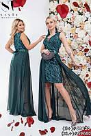 Вечернее платье- двойка с сеткой и шифоном