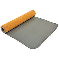 Профессиональный коврик для йоги 183х61 5 мм Zelart, пробковый каучуковый двухслойный
