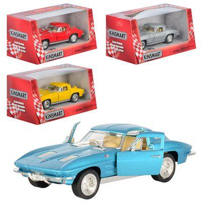 Машинка KT 5358 W Corvette Sting Ray металл, инер-я, 1:32, 12,5см,откр.дв, рез.колеса,4цвета, в кор-ке 16-7-8см