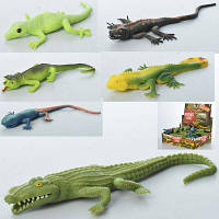 Животное A115-DB ящерица/крокодил, 27 см, 48 шт (6видов) в дисплее 30-23,5-7,5 см