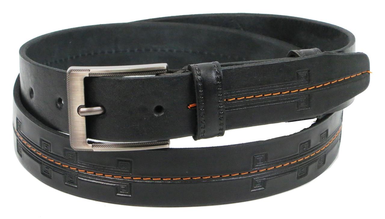 Мужской кожаный ремень под брюки Skipper 1283-35 черный